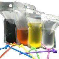 500pcs Clear Drink Bith Bags Borse Glassed Zipper Bottle Stand-up Sacchetto di Plastica Plastica con supporto di paglia RECLOSIBILE A prova di calore 17 onde