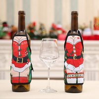 Red Wine Bottle Cover Beer Bottles Champagne Covers Christmas Party Table Decor Mini Xmas Festival Apron Santa Gift Packing Decora BWA8645