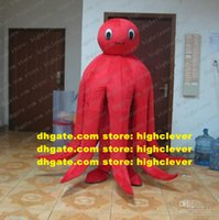 Red Octopus Devilfish Octopoda Octopi Mascot Costume Mascotte With Small Head Big Body Adult Outfit Suit No.33 Free Ship