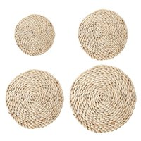 Mats & Pads Natural Corn Husk Handmade Straw Woven Table Mat Heat-proof Plate Cup Round Placemat Pad Kitchen Dining Decor