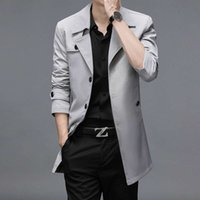 (long term) spring and autumn windbreaker business quality men's long coat