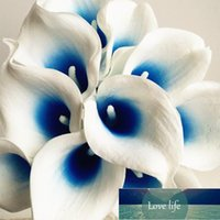 30 stks Kunstmatige Calla Blue Purple Heart Lelies Fake Flower for Wedding Bridal Bouquet Decoratieve bloemen