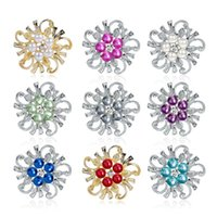 Pins, Brooches Alloy Women Brooch For Wedding Christmas Gift Rhinestone Supplies Costume Jewelry Accessories Flower Shape Pins
