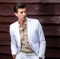 Men's Suits & Blazers 2021 Summer White Men Suit Slim Fit 2 Pieces Tuxedos For Party Prom Wedding Mens Terno Masculino (Jacket+Pants+Tie)
