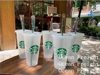 Starbucks Goddess Goddess 16oz de 24oz canecas de suco de beber plástico com lábio e palha Magic Café Costom Transparent Cups Ocean Frete