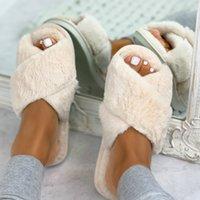 New Women Fashion Keep Warm Fluffy Slippers Cozy Faux Fur Cross Indoor Floor Slides Flat Soft Furry Ladies Female Celebrities Flip Flops