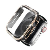 for Apple Watch Series 7 41mm Cases Laser Hard PC Bling Diamond Cover with Tempered Glass Screen Protector Cover 45mm 44mm 42mm 40mm 38mm