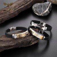 Christian Cross Bracelet Moda religiosa de hombre pulsera de silicona de la muñeca de acero inoxidable joyas de muñeca pulseras pulseras
