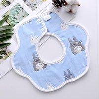 طفل منشفة مريلة الوليد البتلة مريلة القطن الخالص 6 طبقة الشاش الكرتون الطباعة الرضع المرايل الطفل 360 درجة الغزل القطن منشفة EEB5535