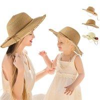 Caps & Hats 2pcs set Flower Wide-brimmed Sun Hat, Breathable Children's Factory Spot Beach Sunscreen Parent-child Straw Hat