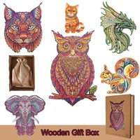 3D Wooden Toys Mysterious Animal Shape Colorful Jigsaw Puzzl Board Game For Adults Kids Puzzle With Gift BoxAK9H