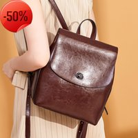 Backpack women's 2021 new leather bag simple fashion oil wax cow multi-functional