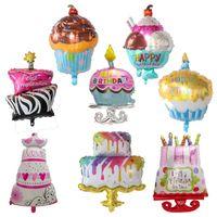 Big Foil Pink Birthday Cake Balloon Happy Party Decoration Kids Mylar Large Ice-Cream Supplies