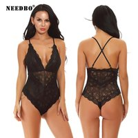 Women's Jumpsuits & Rompers NEEDBO Bodysuit Women Sexy White Lace Backless Overalls Femme Elegant Thong Top For Fasion Mujer Catsuit