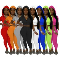 Sommer Frauen Trainingsanzüge Sexy Sportswear 2021 Neue Damen Offene Halsausschnitt Kordelzug Bandage Patchwork Druck Zwei Stück Set S-XXL 8308