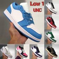 낮은 1 1 1 대학교 푸른 UNC 남성 농구 신발 리버스 브리드 라이트 연기 회색 선인장 게임 로얄 옐로우 파리 남성 여성 운동화