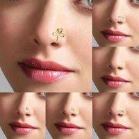 Punk nose ring koppar tråd spiral falsk piercing hiphop guld silver näsa ring öron klipp manschett geometriska näsa ring smycken
