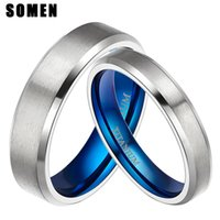 Wedding Rings 2Pcs 4 6MM Ring Set Silver Color Titanium Blue Polished Couple Band Fashion Women Jewelry Anillos Mujer