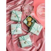 20Pcs Lot Romantic Wedding Candy Box Pink Blue Purple Paper Cookie Gift Boxes Party Supplies Wrap