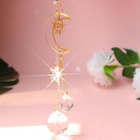 Decorative Objects & Figurines Crystal Love Star Moon Metal Ring Hanging Pendant Home Car Decor For Window Curtains Garden Lamp Gifts