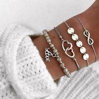Аксессуары для моды блесток тканой двойной любви кулон любви восемь символов четырех частей набор браслетов