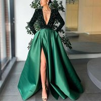 Elegant Satin Side Split Evening Dresses Sexy Deep V-neck Long Sleeves Dubai Women Sparkly Sequined Prom Dress Formal Party Gowns