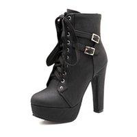 Top Quality McCKle Plus Size Ankle Botas Mulheres Plataforma Alta Salto Feminino Lace Up Sapatos Sapatos Fivela Mulher Curta Boot Senhoras Calçado
