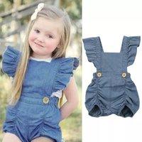 Ins Baby Mädchen Strampler Sommer Fly Sleeve Neugeborene Strampel Kleidung Denim Nette Kleinkind Strampler Boutique Infant Bodysuit Kleidung