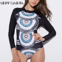 Abiti di un pezzo Appyshark Sport Sport Stretto Skin Surf Suit Donna 2021 Manica lunga One Piece Swimwear Zipper High Neck Swimsuit Quick Dry