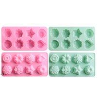 12 Grids Rose Forme LCE Cube Moules Silicone Chocolate Pudding Moule Fleur Grass Cubes Plateau Maison Cuisine Cuisine Cuisine trop DWF11045
