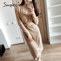 Simplee Düz Kadın Katı Sıcak Elbise Örme Uzun Kollu Midi Elbise Sonbahar Chic Streetwear Katı Kemer Bayanlar Çalışma Elbise 210322