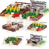 MOC Bricks Farm Series Animals Rabbit House Chicken Coop Stable Doghouse Bullpen Pig Shed Buiding Blocks Creative Toys For Kids Q0624