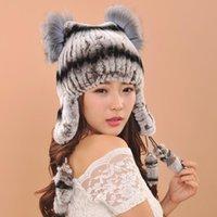 패 펫 모자 겨울 따뜻한 모피 모자 여성을위한 진짜 니트 렉스 Pom Poms 모자 패션 여성