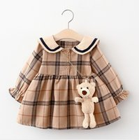 Cute Baby Girls Princess Dress Spring Autumn Girl Long Sleeve Plaid Dresses With Little Bear Great Quality Kids Casual Skirts Children Clothes