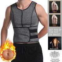 Men's Body Shapers Men Neoprene Sauna Sweat Suits Shaper Vest Belt Corset Belly Slimming Shirt Underwear Cinchers Waist Trainer