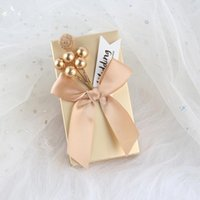 Gift Wrap 50 20pc European Bowknot Candy Boxes Favor Sweet Golden Hand Packaging Bag Baby Shower Wedding Party Decoration