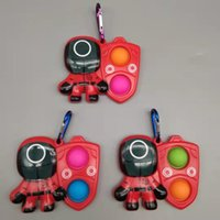 FEDEX Keychains Ring Squid Game Fidget Toys Simple Dimple Squeeze Push Bubble Sensory Stress Reliever Adult Children Autism Antistress Christmas Pop It Toy Gifts