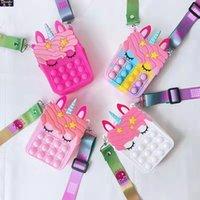 새로운 귀여운 fidget 장난감 가방 유니콘 간단한 딤플 메신저 푸시 거품 안티 스트레스 어린이 장난감 키 체인 지갑 FY2915