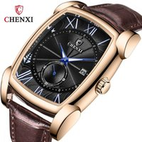 Quartz High Quality Rose Gold Sport Square Men Watch Leather Band 30M Waterproof Boy Year Gift Drop Wristwatches
