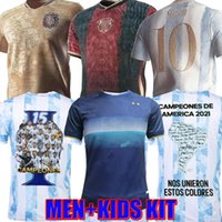 Argentinien Maradona Messi Fußball-Trikots 2021 22 Home Away Kun Agüero di Maria Lo Celso Martinez Correa Football Hemd Kit Größe S-4XL