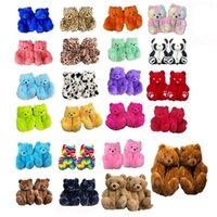 18 Styles Plush Teddy Bear House Brown Home Indoor Soft Anti-slip Faux Fur Cute Fluffy Pink Slippers Women Winter Warm Shoe YK52
