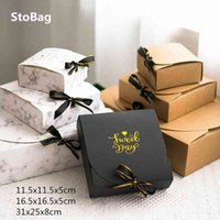 StoBag 10pcs Gift Packaging Paper Box Wedding Birthday Party Supplies Chocolate Clothes Pack Boxes Gold Kraft Black Marble Style 210517