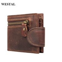 Wallets WESTAL Men's Wallet Genuine Leather Purse For Cards Small Male Coin Short Clutch Mens Money Bags