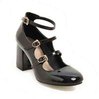 큰 크기 봄 여성 펌프 두꺼운 블록 하이힐 특허 가죽 라운드 발가락 가을 사무실 드레스 파티 신부 레드 레이디 신발 34-43 210610 6407