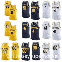 Basketball College Michigan Wolverines Jersey University 51 Austin Davis 4 Chris Webber 41 Glen Rice 25 Juwan Howard Navy Blue Gelb Weiß
