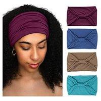 Fashion Wide Solid Color Cotton Headband For Women Lady Plain Fabric Yoga Sport Elastic Headband Turban Head Wrap Bandana