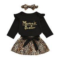 Baby Girls Robe Costumes Lettre Infant Ruffler Romper Tops Enfants Casual Vêtements Girls Dentelle Léopard Jupes Bandeau En Baddler Outfit occasionnel 06