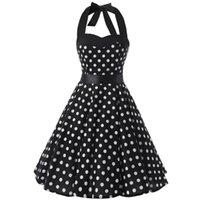 우아한 레드 블랙 드레스 여름 플러스 사이즈 여성 의류 Halter 50s 60s 빈티지 스윙 해변 락빌리 드레스 VD0078 캐주얼