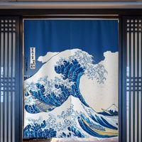 Cortina de porta de onda japonesa ukiyo-e partition cozinha quarto banheiro banheiro feng shui japão decoração de casa drapes