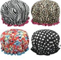 Chapéu de chuveiro largo de chuveiro chapéu de banho à prova d 'água Dupla camadas de tecido de cetim capacetes de cabelo redondo chapéus cabidos cabeça envoltório fwa8101